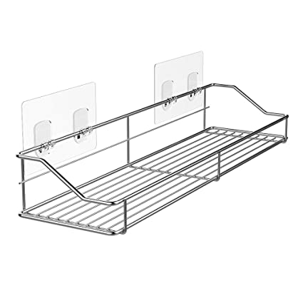 MAPUX Bathroom Shelf Organizer Storage Kitchen Rack With Traceless  Transparent Adhesive No Drilling SUS304 Stainless Steel