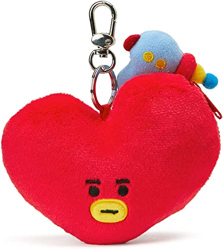 BT21 Official Merchandise by Line Friends - TATA Character Keychain Coin Purse Bag Charm, Red