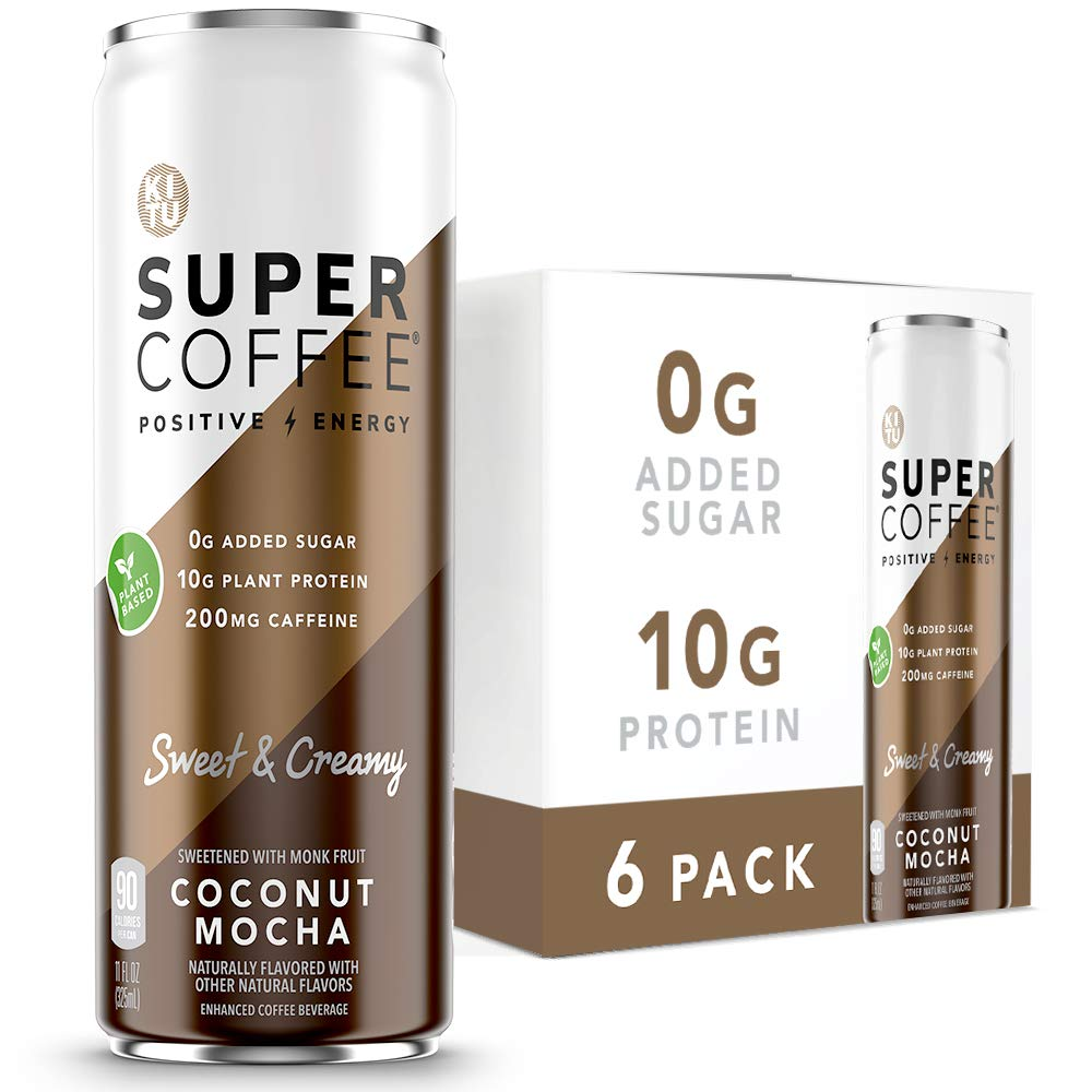 Kitu Super Coffee, Vegan Protein Coffee (0g Added Sugar, 10g Protein, 90 Calories) [Coconut Mocha] 11 Fl Oz, 6 Pack | Iced Coffee, Protein Coffee, Keto Coffee - Pea Protein, Plant Based, Gluten Free