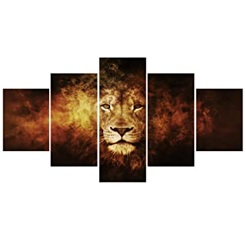 GEVES 5 Panels Retro Lion Wall Art Canvas Paintings Picture Modern Living  Room Decorative Print Posters Part 56