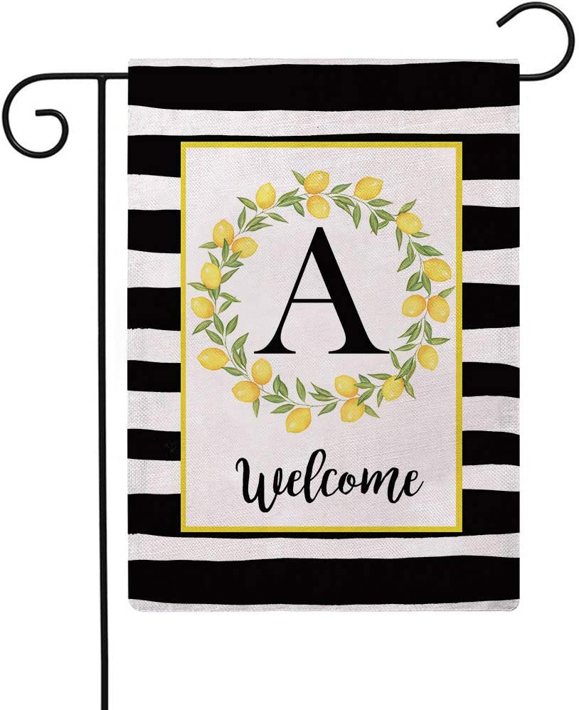ULOVE LOVE YOURSELF Welcome Farmhouse Decorative Garden Flags with Letter A/Lemons Wreath Double Sided House Yard Patio Outdoor Garden Flags Small Garden Flag 12.5×18 Inch(A)