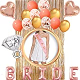 Bachelorette Party Decorations, BRIDE Foil Balloon + Rose Gold Bride To Be Sash + Ring Foil Balloon + Heart Foil Balloons + Latex Balloons+ Foil Curtains, Bachelorette Party Supplies for Bridal Shower
