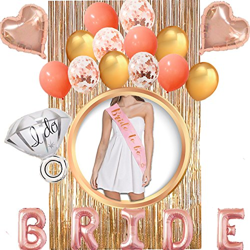 Bachelorette Party Decorations, BRIDE Foil Balloon + Rose Gold Bride To Be Sash + Ring Foil Balloon + Heart Foil Balloons + Latex Balloons+ Foil Curtains, Bachelorette Party Supplies for Bridal Shower by EASTiii