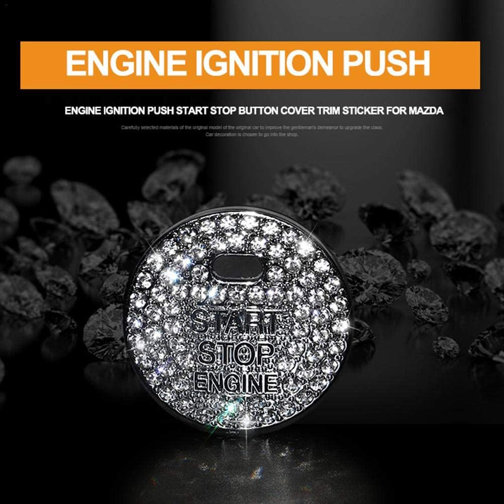 SELUXU Cars One-Key Engine Start Stop Ignition Push Button Cover Decorative Rhinestone Crystal Ring