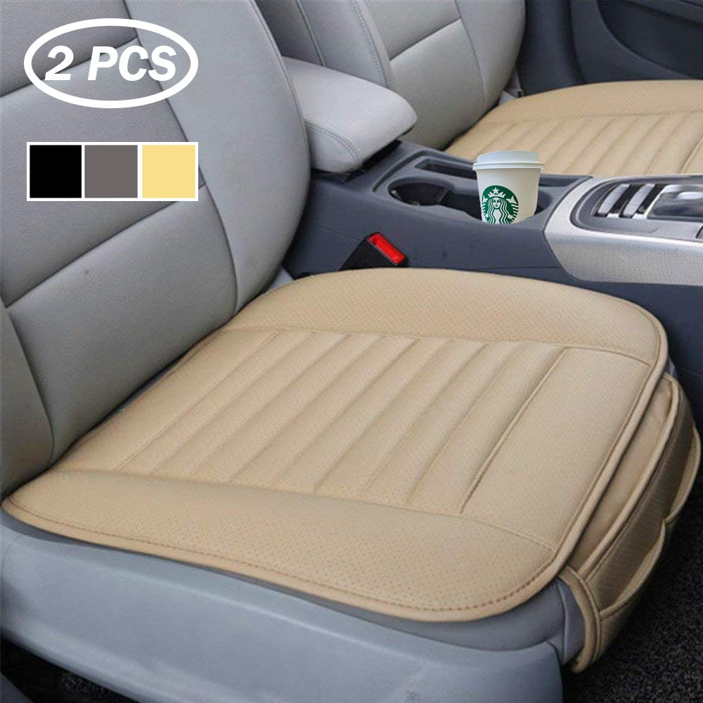 Big Ant Car Seat Pads, Front Car Seat Cover Waterproof Car Seat Cushion with PU Leather Breathable Seat Protector Anti Sweat Stain & UV-Ray Four Season Use, Universal for Most Cars (2 Pack-Beige)