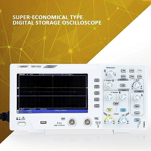 OWON Osciloscopio SDS1202,Osciloscopio de almacenamiento digital,2 canales 200Mhz ancho de banda USB osciloscopios 1GS//s