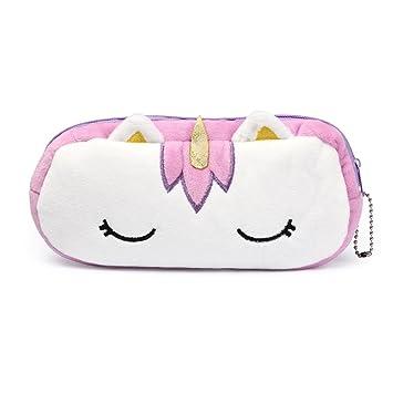 Estuche de unicornio de peluche para niñas, diseño de unicornio, color azul, blanco, rosa, morado, rosa y rojo, color morado