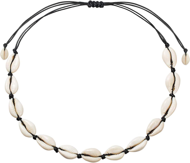VANGAY Pearl Shell Necklace Choker for Women Girls Handmade Puka Seashell Necklace Jewelry Hawaiian Beach Necklace Bracelet Set