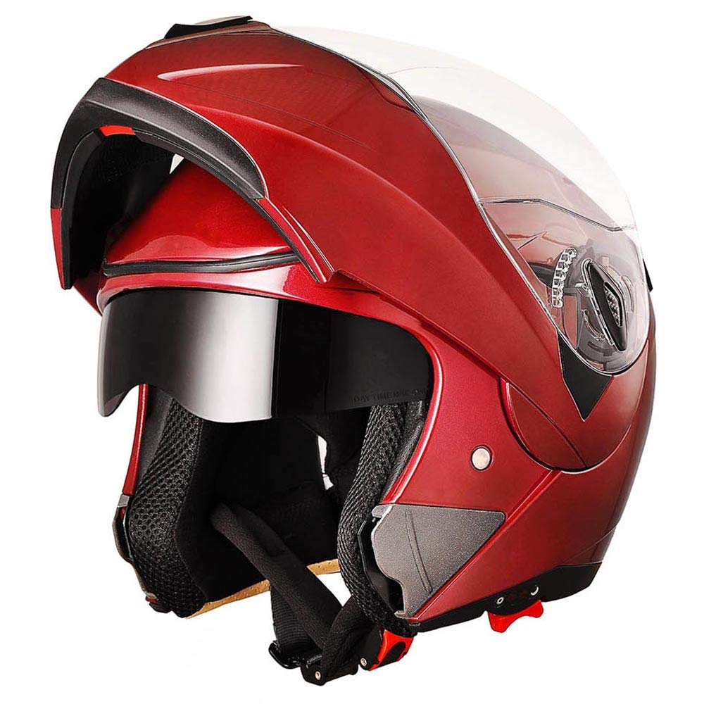 AHR Full Face Flip up Modular Motorcycle Helmet DOT Approved Dual Visor Motocross Red XL by AHR