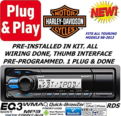 Plug -And -Play Harley Touring 1998-2013 Sony Mechless Marine Radio Stereo Pre Installed and Programmed
