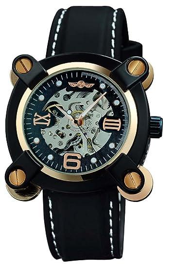 Fanmis altura que de pulsera mecánico automático para hombre relojes acero inoxidable esfera reloj negro correa de caucho GB: Amazon.es: Relojes