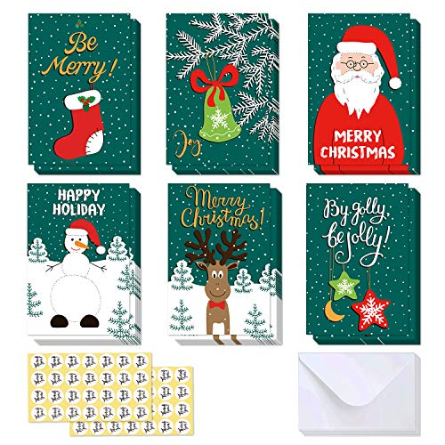 48 Pack Christmas Cards Assortment, Ohuhu Blank Side Note Card W/48 Envelopes & Stickers, Xmas Winter Holiday Cards of 6 Designs, Rein Deer, Snowman, Jingle Bell, Star, Santa Claus, Green