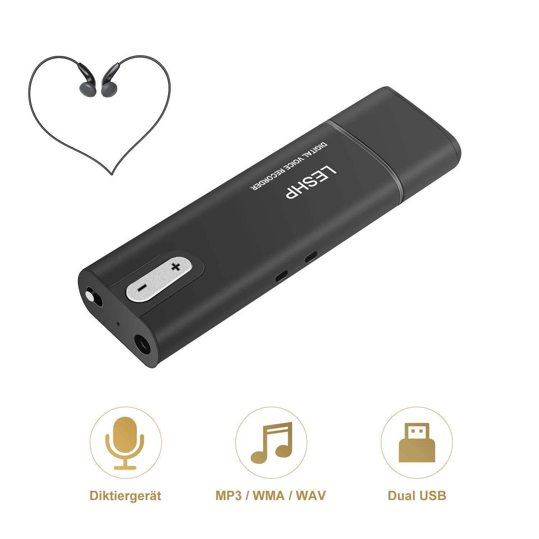 Registratore vocale digitale a penna, LESHP USB mini stick, 8 GB, voice recorder, microfono, per ufficio, scuola, interviste 8GB