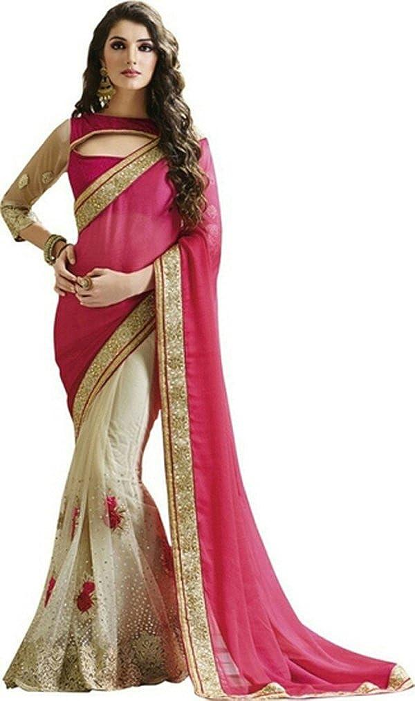 JHTEX FASHION Indian Womens Designer Fancy Georgette Saree