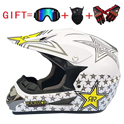 Adulto Motocross Casco MX Moto Casco ATV Scooter ATV Casco D. O. T Certified Rockstar con Gafas