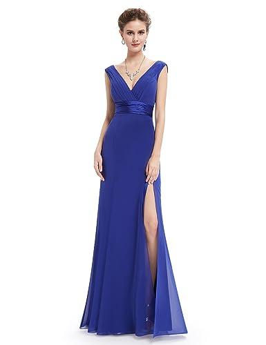 Ever Pretty Womens V-Neck Empire Waist Evening Dress with Thigh High Slit 08743