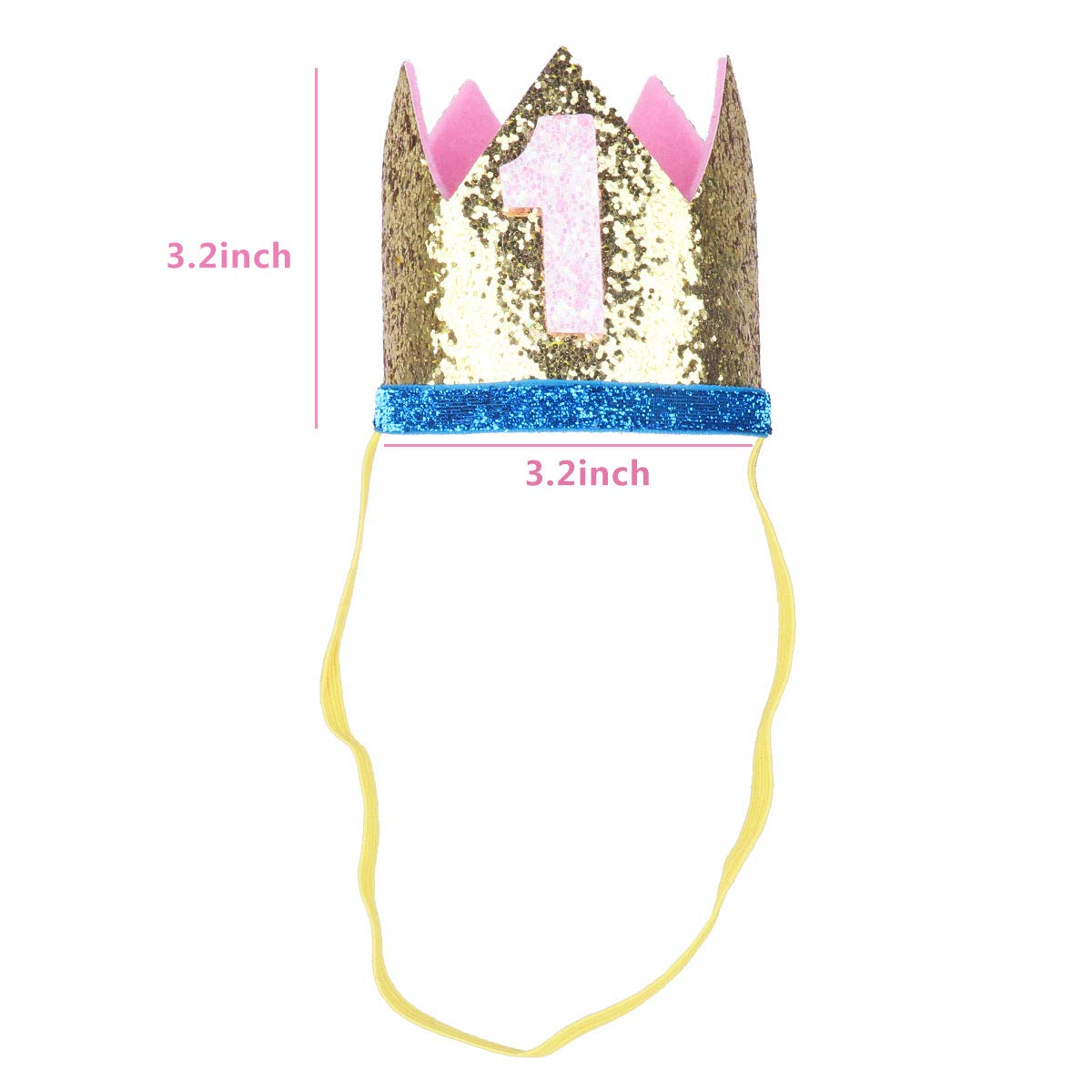 iiniim Baby Girls Boys First /1st Birthday Party Hat Little Prince Crown Headband Head wear Accessories Gold Number 1 One Size by iiniim (Image #5)