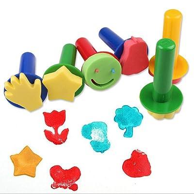 Fuhaoo DIY - Rodillo de pintura para niños con brochas de esponja para sellar la pintura de graffiti, herramientas de arte: Bebé