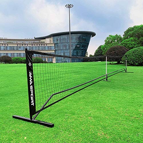 AMA SPORT Portable Pickleball Net System Regulation Size Net 22FT for Indoor and Outdoor-Designed for All Weather Conditions-Powder Coated Steel Post-600D Driveway Bag