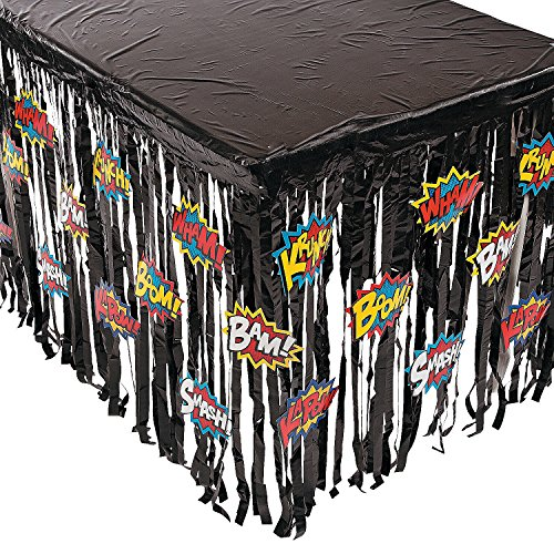 Fun Express Foil Superhero Table Skirt Table Cover With Cutouts (Super Hero Decorations)