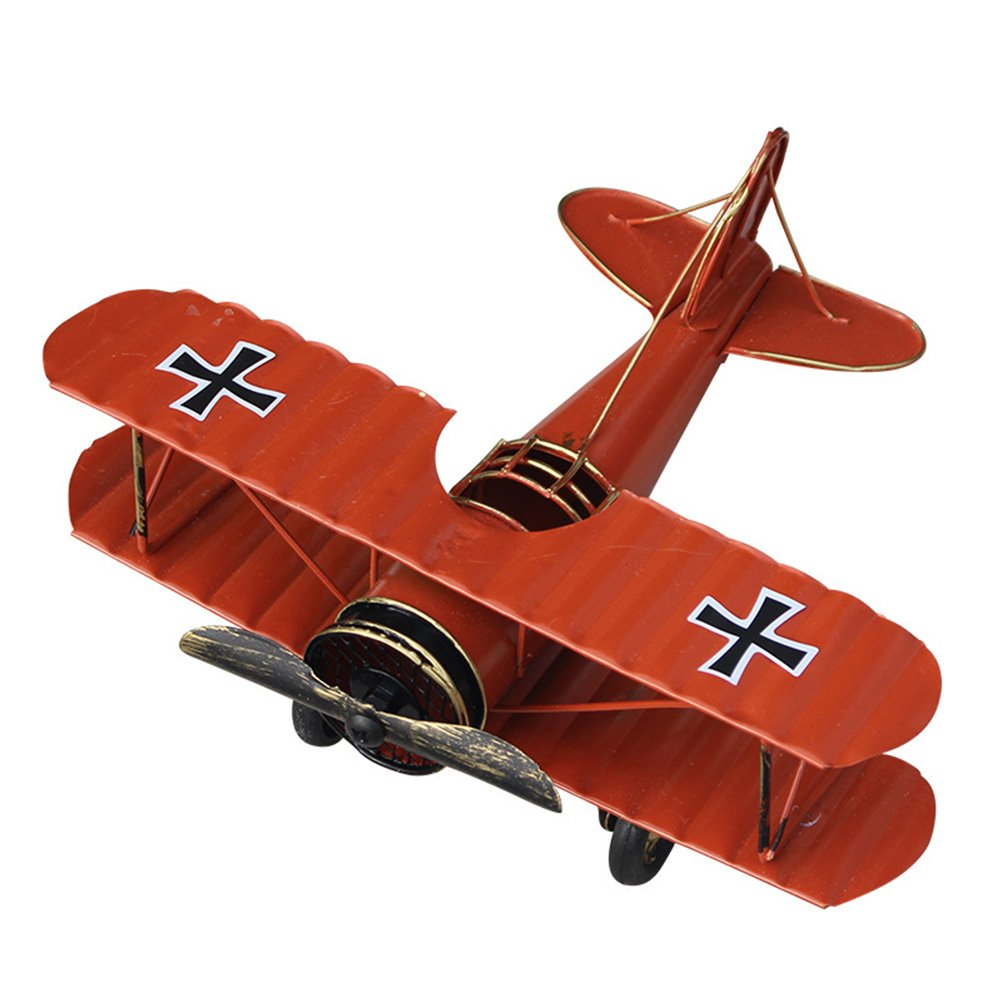 VORCOOL Vintage Airplane Model Metal Handicraft Wrought Iron Aircraft Biplane Pendant Toys Collectible Iron Art Sculpture Home Desk Workplace Office Decoration (Red)