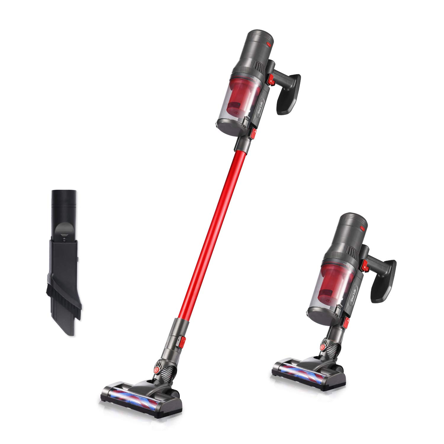 Cordless Vacuum Cleaner, IDEE Life Powerful 10KPa Cordless Stick Vacuums & Electric Broom,4 in 1 Rechargeable Handheld HEPA Vacuum Cleaner with Multiple Brush for Home/Car Cleaning,Lightweight (Red)