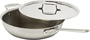 All-Clad BD55404 D5 Brushed 18/10 Stainless Steel 5-Ply Dishwasher Safe Week Night Pan Cookware, 4-Quart, Silver -