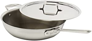 All-Clad BD55404 D5 Brushed 18/10 Stainless Steel 5-Ply Dishwasher Safe Week Night Pan Cookware, 4-Quart, Silver