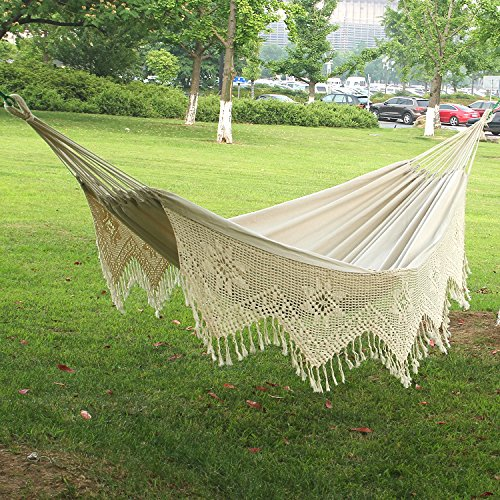Outdoor-camping Hängematten aus Baumwolle mit weißen Quasten swing Bett für Yardward ein Nickerchen
