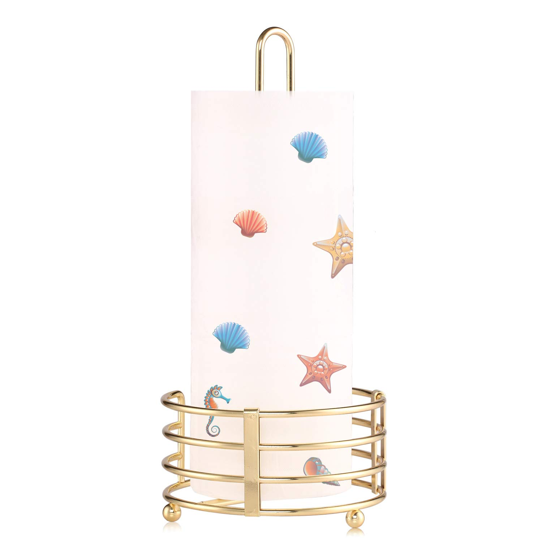 Buruis Modern Stand Up Paper Towel Holder for Kitchen Countertop Rolls - Gold