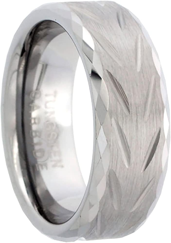 Sabrina Silver Stainless Steel 7mm Domed Eternity Wedding Band Ring 3mm CZ Stones High Polished Sizes 7-14.5