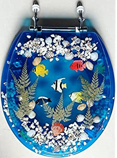 Transparent Fish Aquarium Round Standard Size Toilet Seat with Cover  Acrylic Seats Blue Sea Shell Lucite Tropical Fish Toilet Seat Seashell Standard Size  . Tropical Fish Toilet Seat. Home Design Ideas