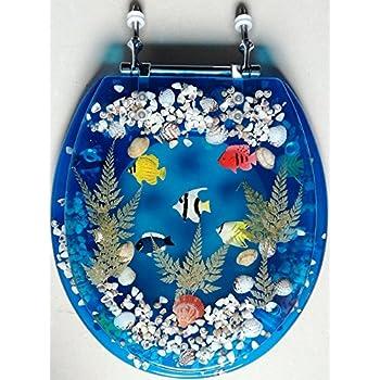 Sea Shell Lucite Tropical Fish Toilet Seat Seashell