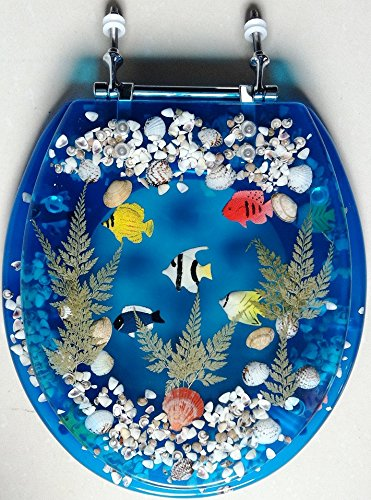 (Transparent Fish Aquarium Round Standard Size Toilet Seat with Cover Acrylic Seats.(Blue