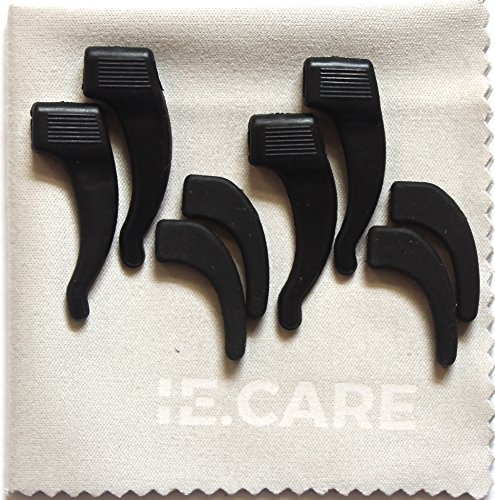 High Quality Black Anti-Slip Glasses Silicone Ear Hook Retainer- 4 Pairs (2 Different Sizes) + 1 Microfiber Cleaning - Slip Glasses Anti