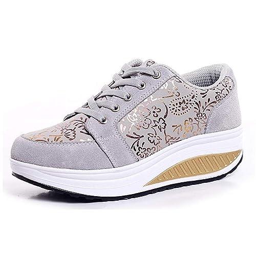 Las Mujeres Zapatillas de Plataforma Primavera otoño cuñas Florales Calzado Zapatos de Mujer Casual: Amazon.es: Zapatos y complementos