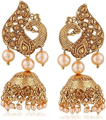 c631fcecf Buy MEENAZ Gold Plated Pearl Peacock Kundan Jhumka for Women Online at Low  Prices in India | Amazon Jewellery Store - Amazon.in