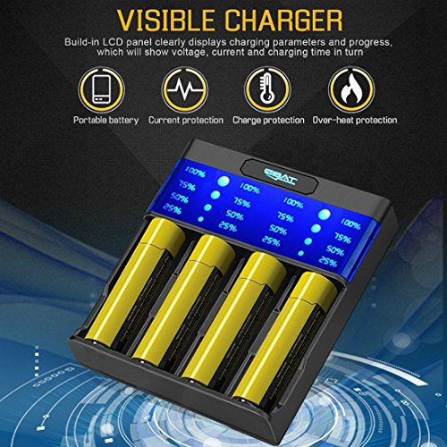 Ebat 4 Slot LCD Fast Intelligent Battery Charger for Li-ion Ni-MH/Ni-CD 10440 14500 14650 16340 17670 18500 18650 18700 22650 20700 21700 22700 25500 26650 26700 Rechargeable Batteries