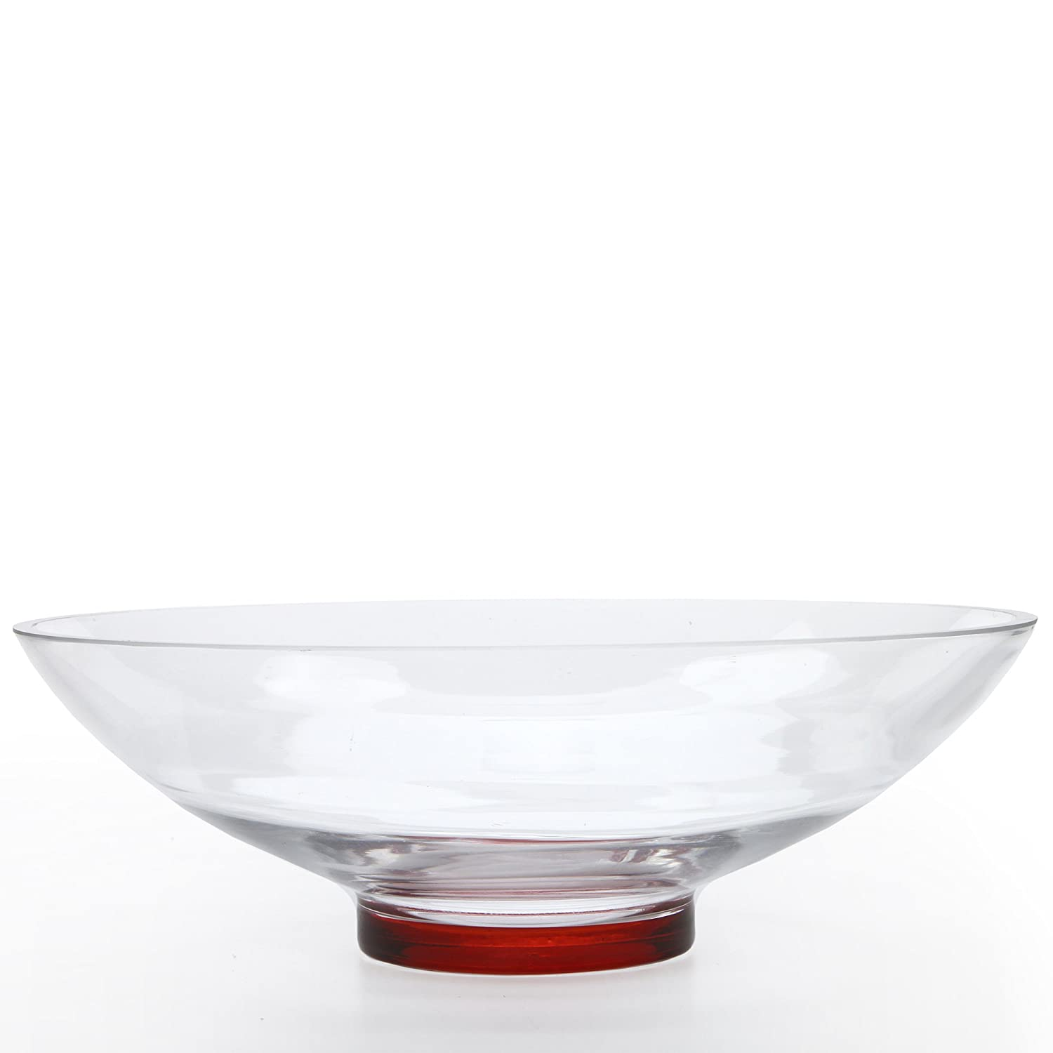 Hosley Clear Glass Bowl with Red Bottom, 11.8