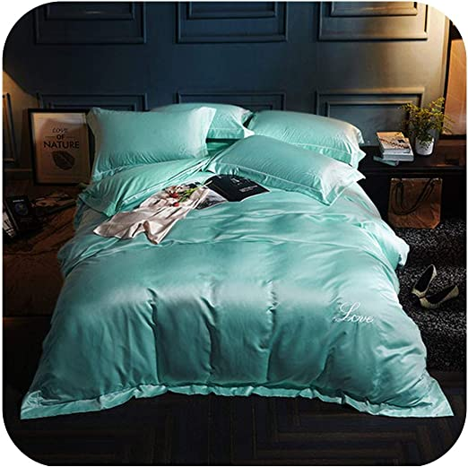 4 PC Turquoise  Satin Silky Sheet Set Queen Size Flat Fitted Pillows 500TC New