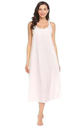 a7c8836057489e Nachthemd Damen Extra Lang Ärmellos Baumwolle Nachtwäsche Schlaf Kleid  Locker Viktorianischer Stil Nachtkleid, Weiß,