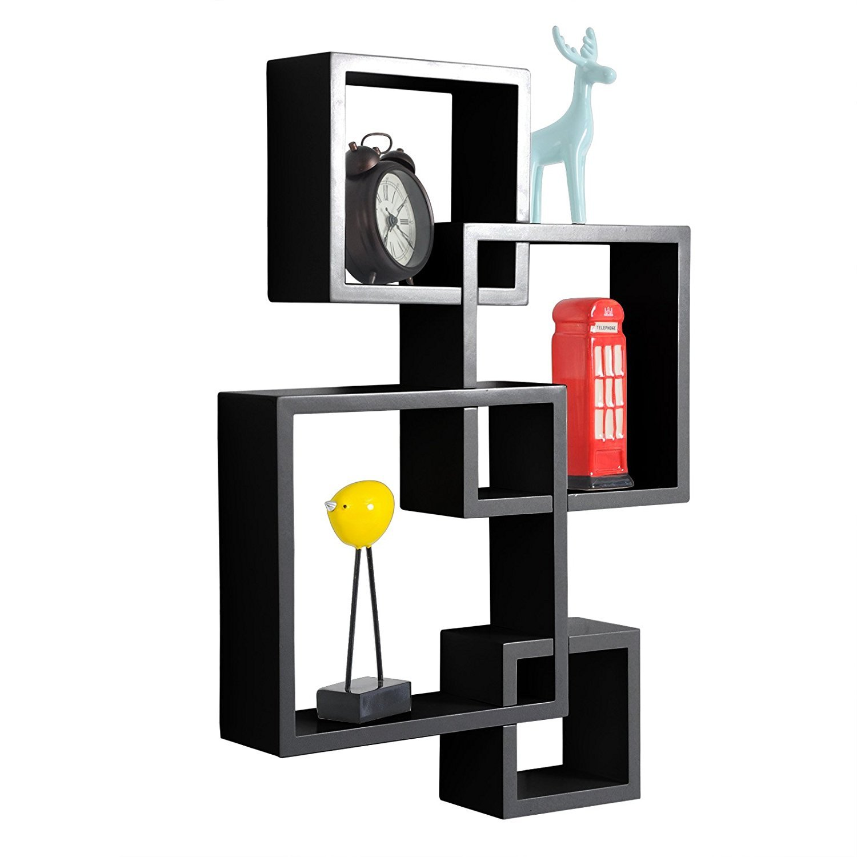 Lykos Shelving Solution Intersecting Decorative Espresso Color Wall Shelf Set of 4 (Black)
