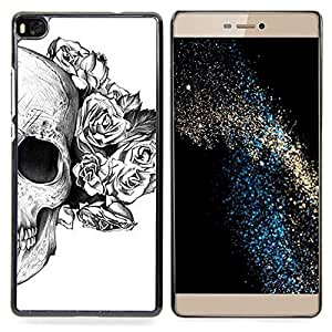 - Rose White Black Skull Death Flower - - Snap-On Rugged Hard Cover Case Funny HouseFOR HUAWEI P8