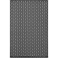 Lightweight Outdoor Reversible Plastic Rug Arabian Nights (6 x 9, Black / White)