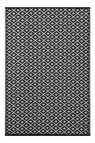 Outdoor/ Light Weight/ Reversible Eco Plastic Rug (6 x 9, Black / White) by Green Decore
