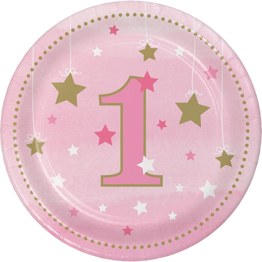 Club Pack of 96 Pink and Gold One Little Star Girl Luncheon Plates 6.8''