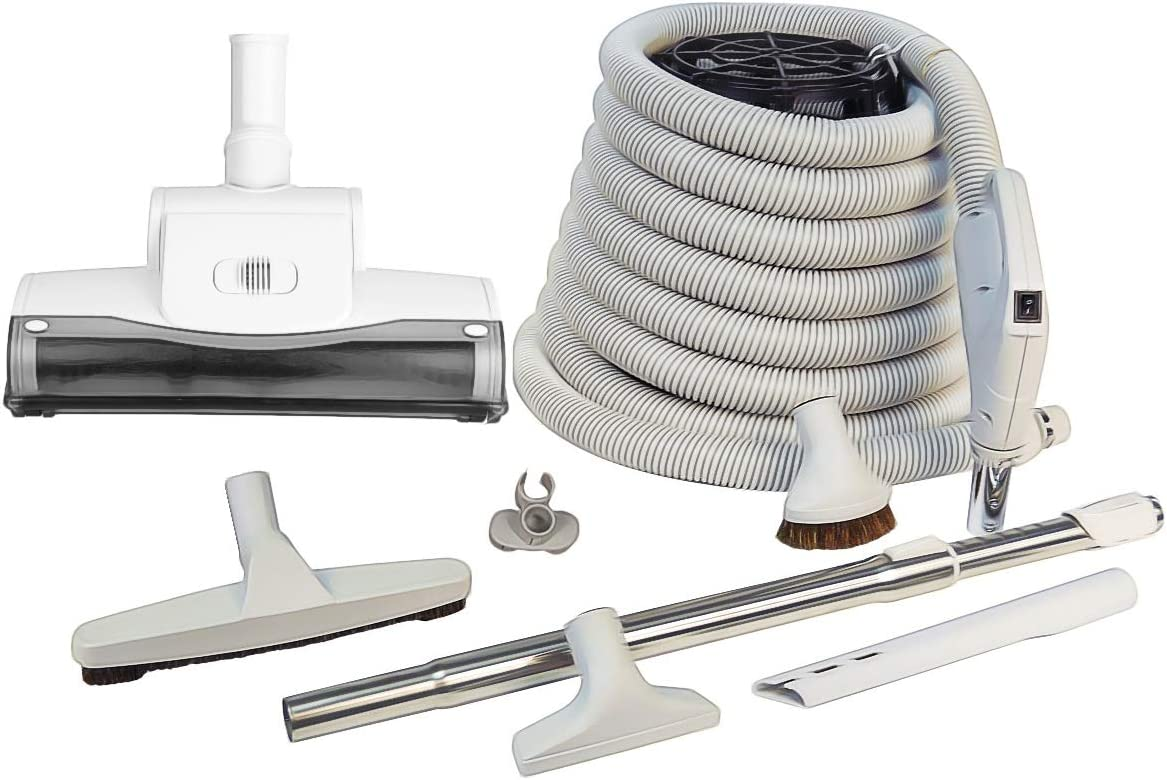 ZVac Universal Central Vacuum Accessory Kit for Central Vacuum Systems with 30 ft Hose Gas Pump Handle & Turbo Air Nozzle Compatible with Beam, Nutone, Electrolux, Hayden, Centec, Kenmore & Vacumaid