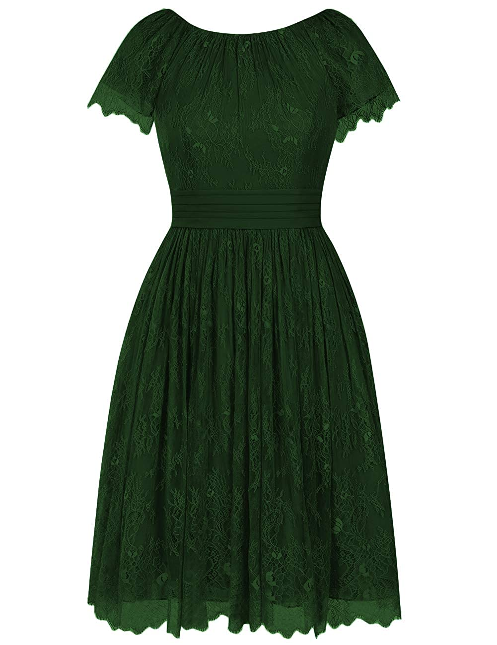 Dark_green Short Bridesmaid Dresses Flora Lace Cocktail Prom Gowns Homecoming Formal Party Dress