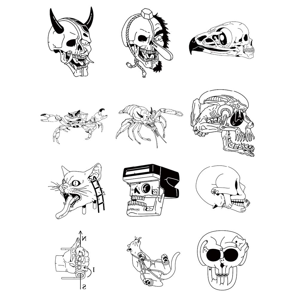 12 Original Design Temporary Tattoos by Inktells-Updated 2020-Animal Skull,Mantis tattoo for Men and Boys  fake tattoos for neck,back,hand and forearm   Removable(2 sheets)