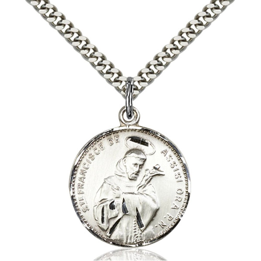 Sterling Silver St. Francis of Assisi Pendant 7/8 x 3/4 inches with Heavy Curb Chain